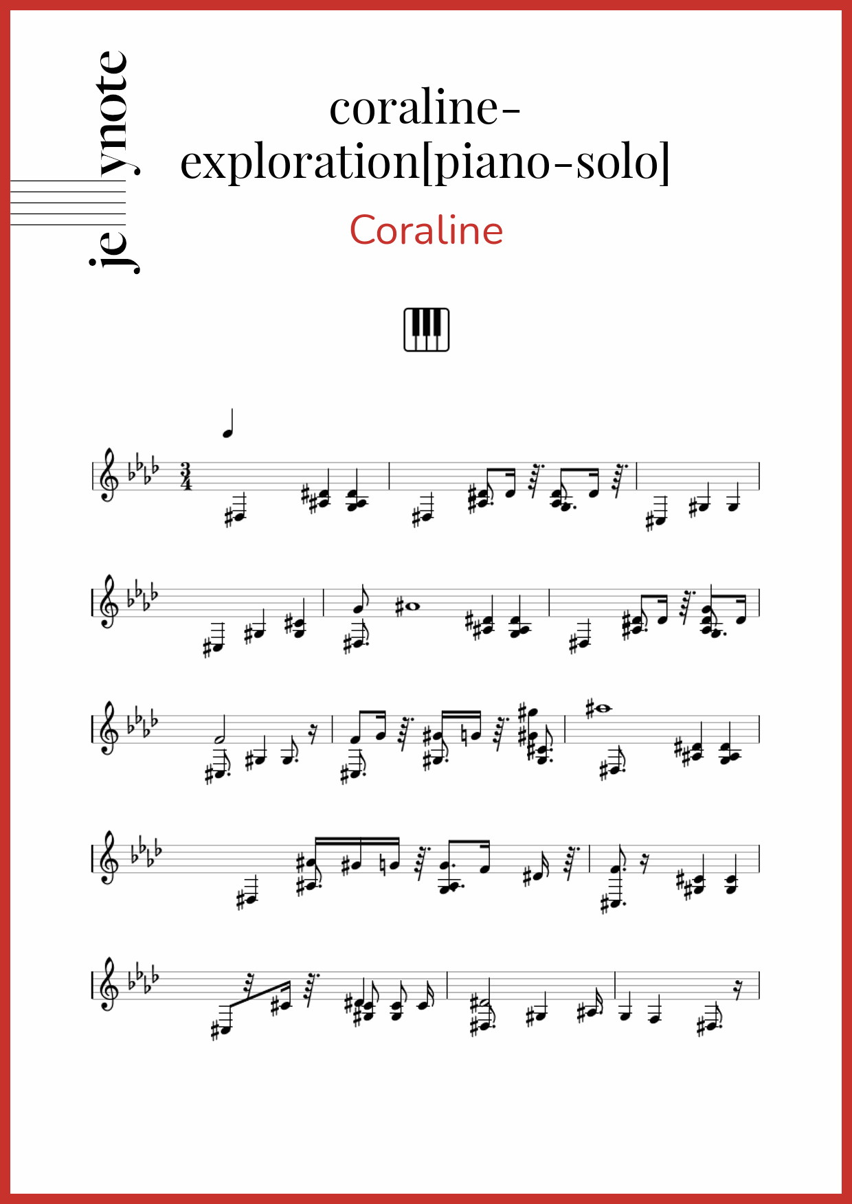 Coraline Coraline Exploration Piano Solo Piano Sheet Music Jellynote
