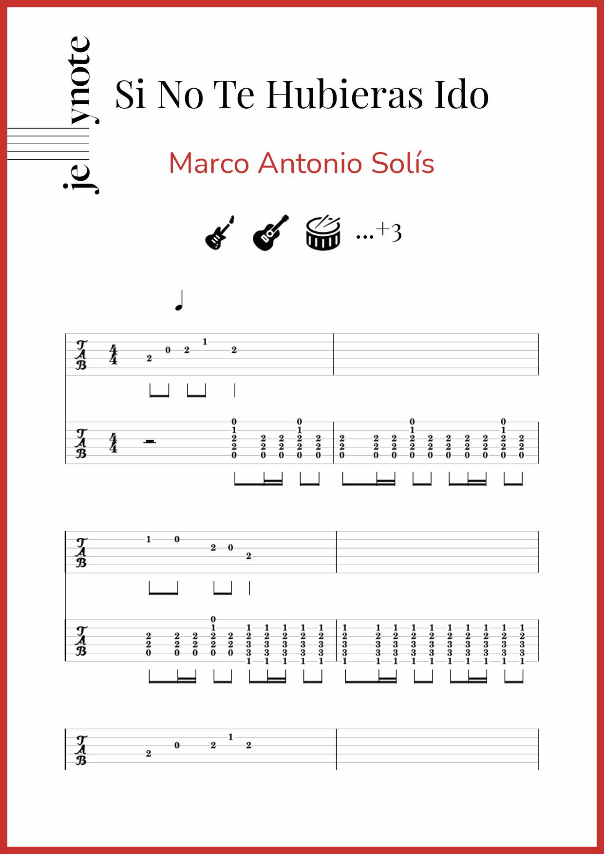 Partituras De Marco Antonio Solis Si No Te Hubieras Ido Jellynote