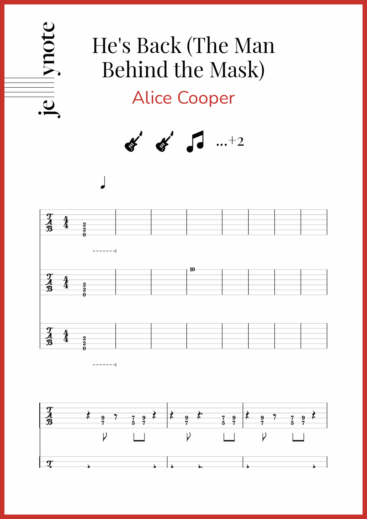 Alice Cooper He S Back The Man Behind The Mask Guitar And Bass Sheet Music Jellynote