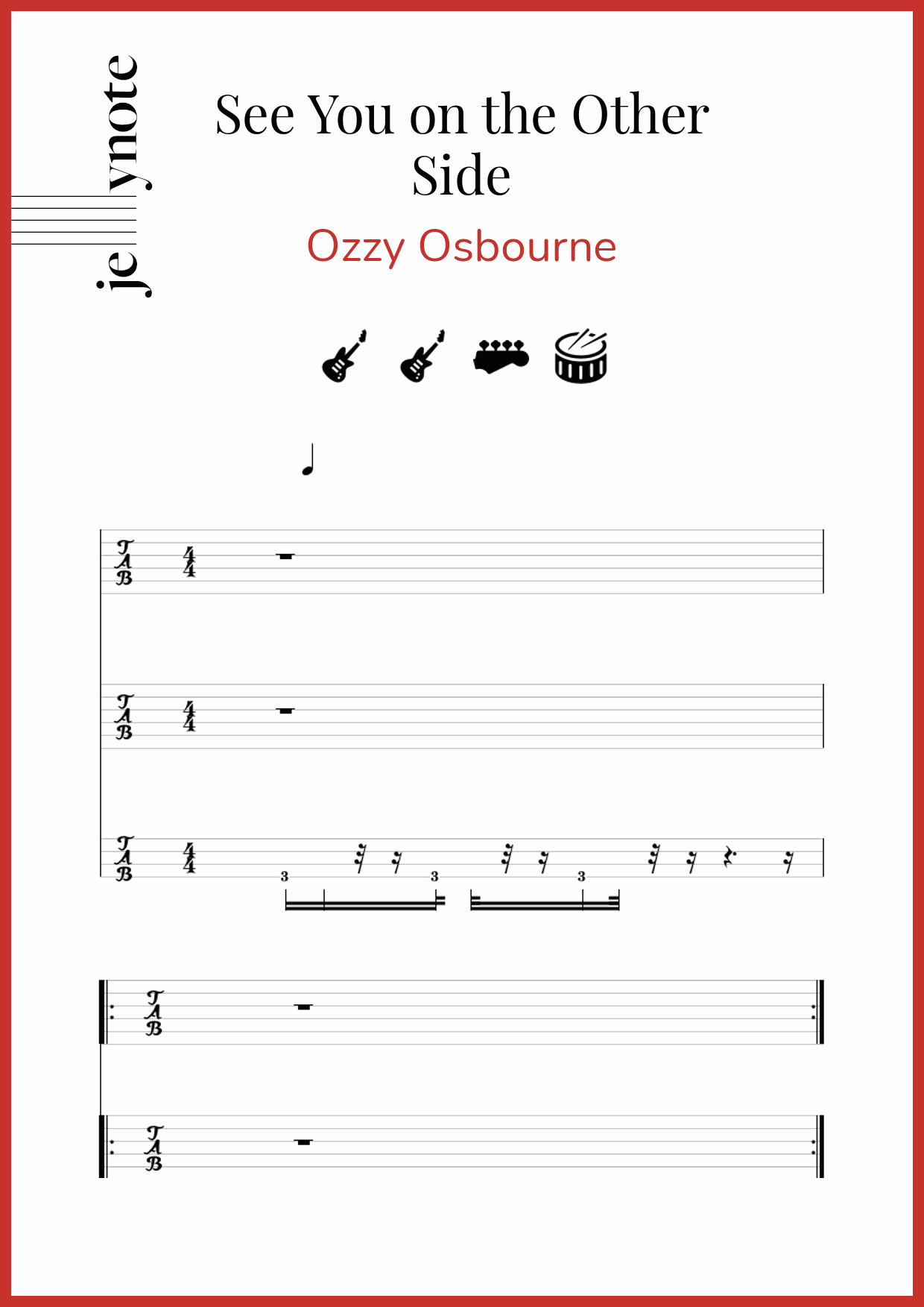 Ozzy Osbourne See You On The Other Side Guitar And Bass Sheet Music Jellynote