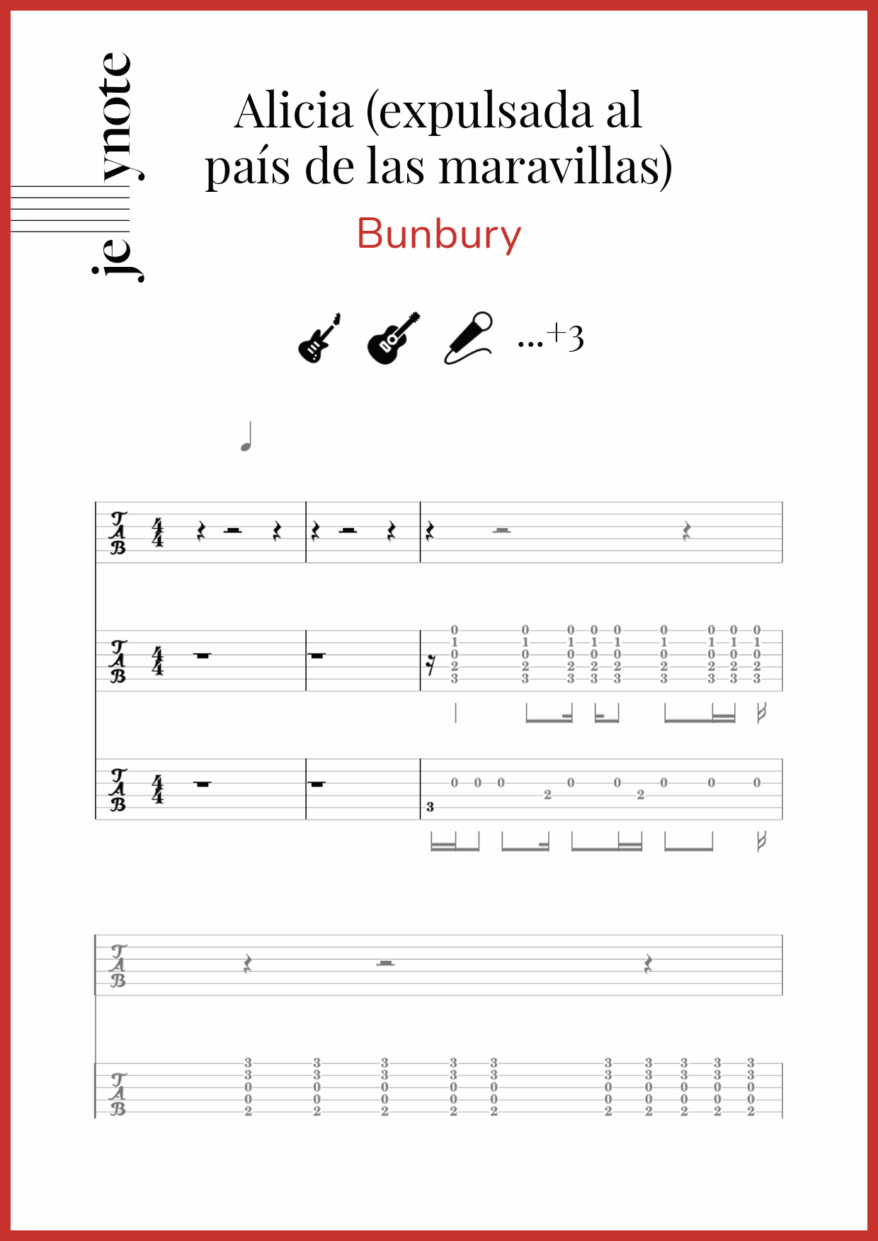 partituras de Bunbury