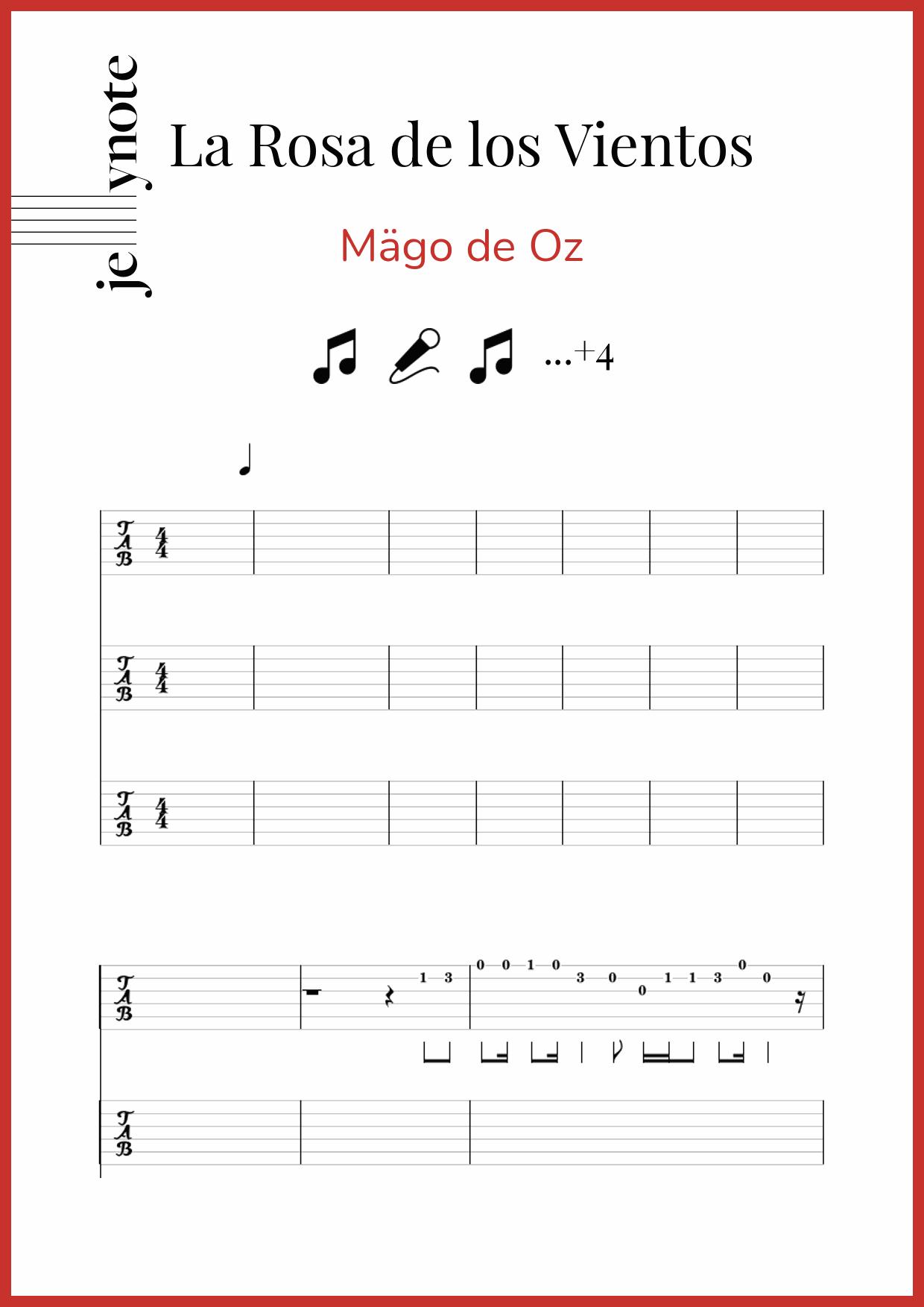 Mägo De Oz La Rosa De Los Vientos Mandolin Tablature And Notes Jellynote