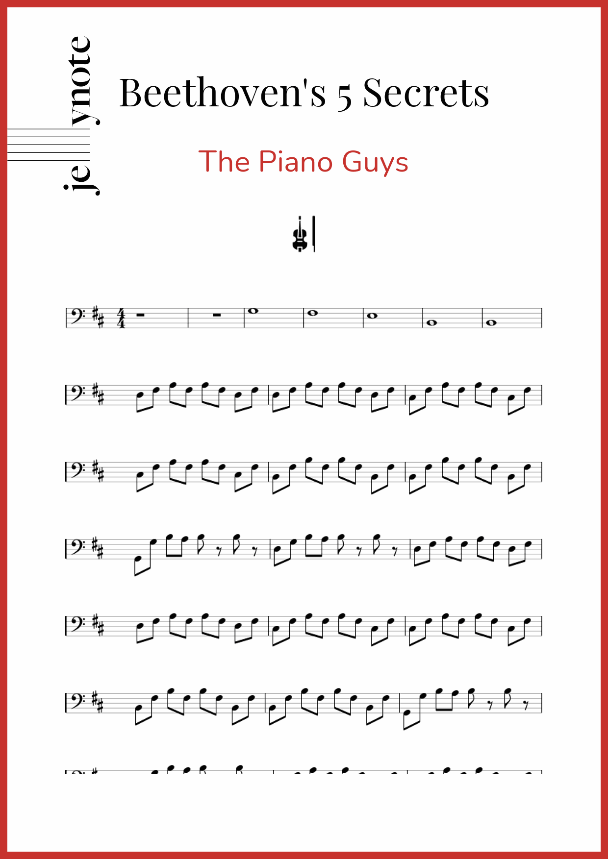 The Piano Guys Beethoven S 5 Secrets Cello Sheet Music Jellynote