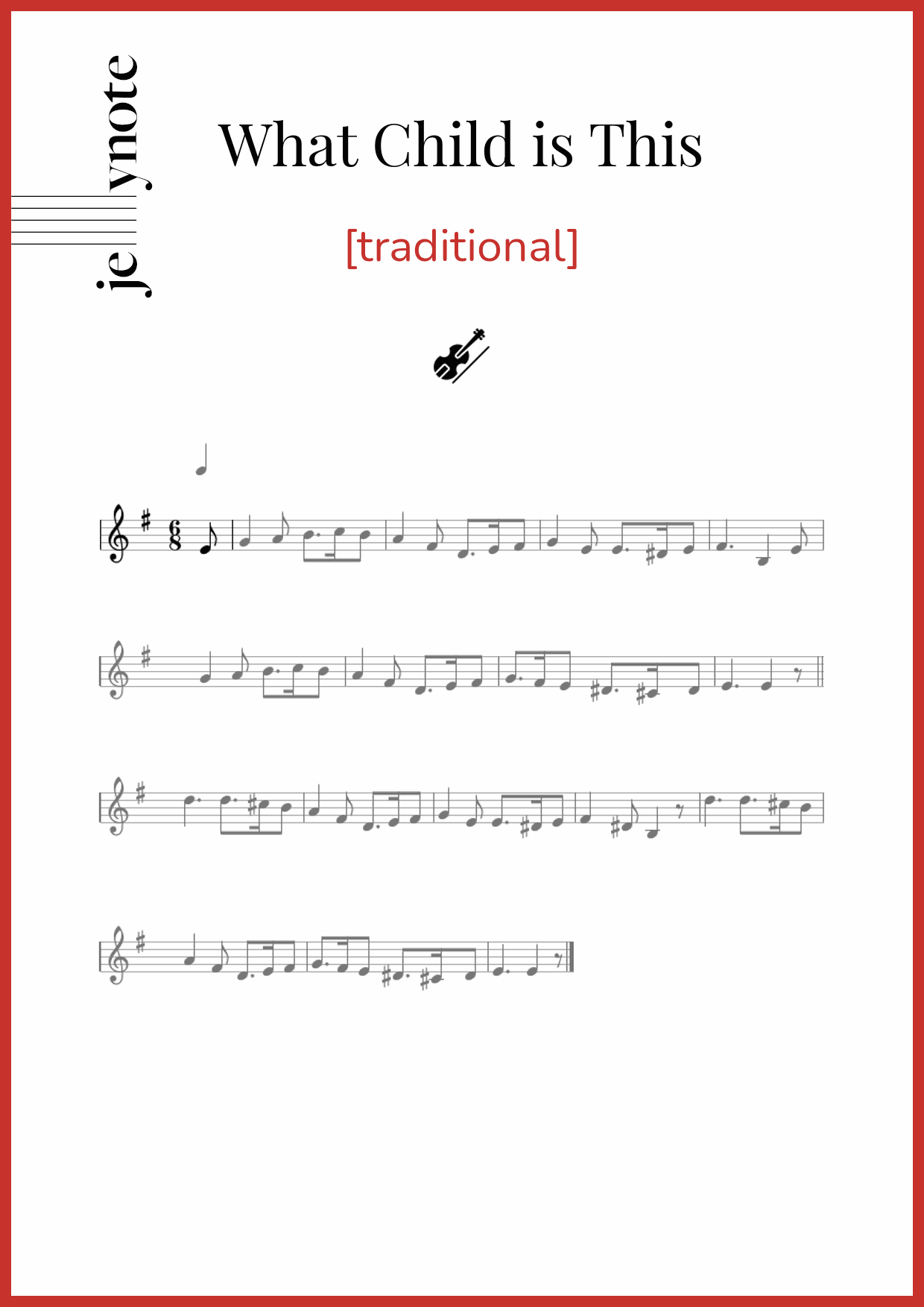 """traditional """"What Child is This"""" Violin sheet music 