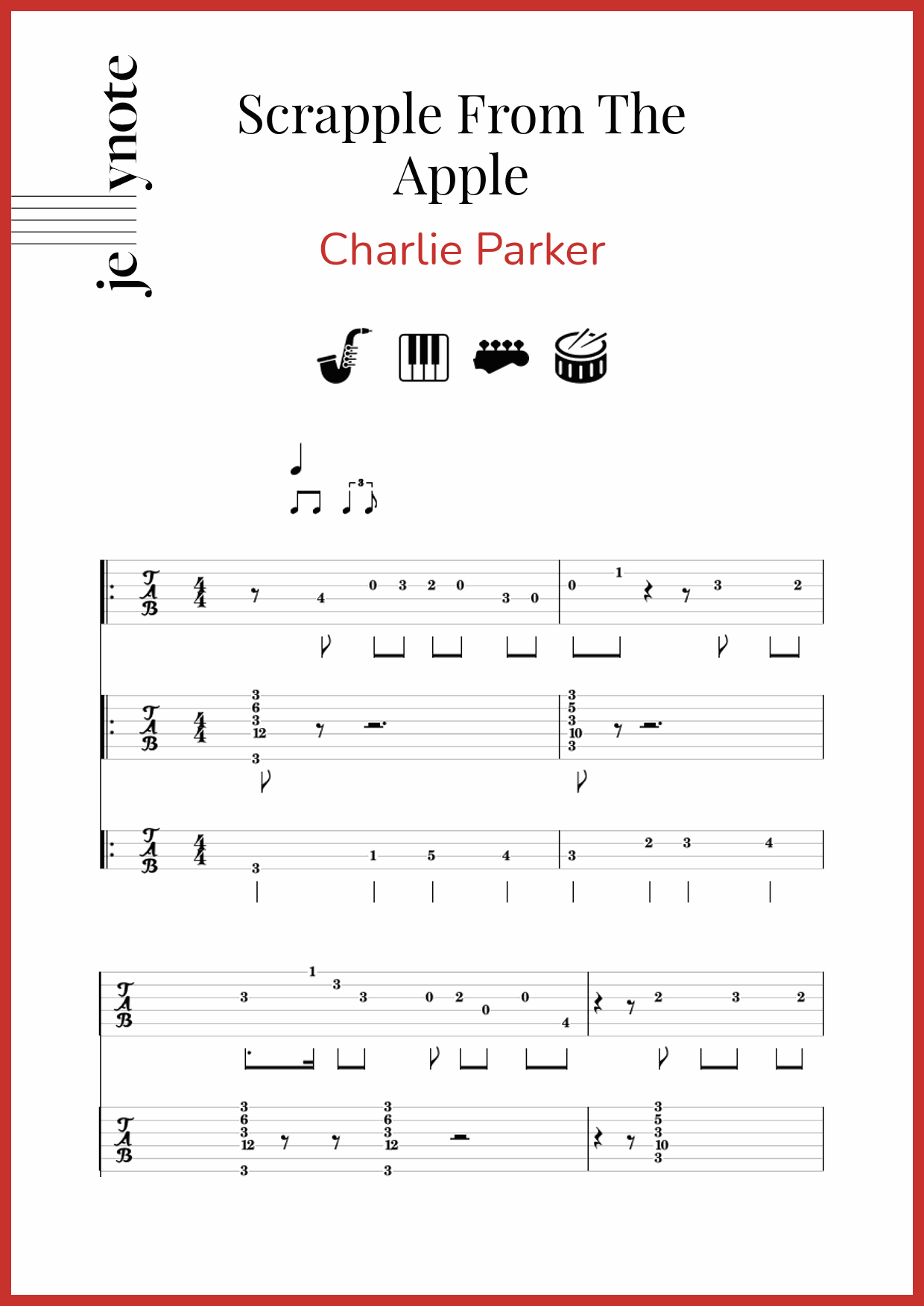 Charlie Parker Scrapple From The Apple Bass Tablature And Notes Jellynote